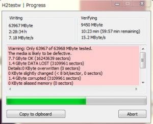 h2testwの実行結果。8GB以降一致しないというエラーになっている。